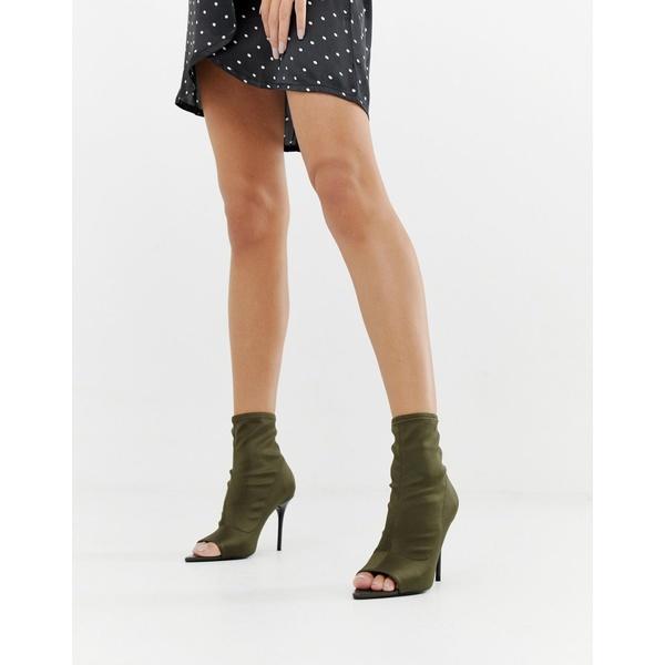 エイソス レディース ブーツ&レインブーツ シューズ ASOS DESIGN Esther stiletto open toe sock boots in khaki Khaki