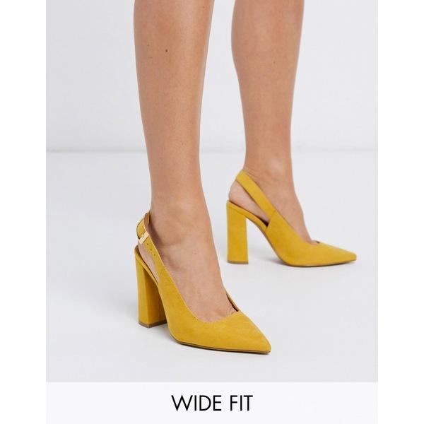 エイソス レディース ヒール シューズ ASOS DESIGN Wide Fit Planet high block heels in mustard Mustard