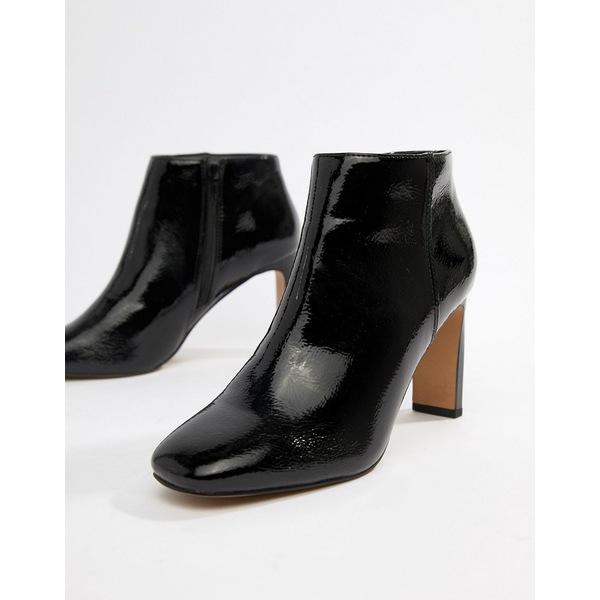 エイソス レディース ブーツ&レインブーツ シューズ ASOS DESIGN Enlighten patent ankle boots Black crinkle patent