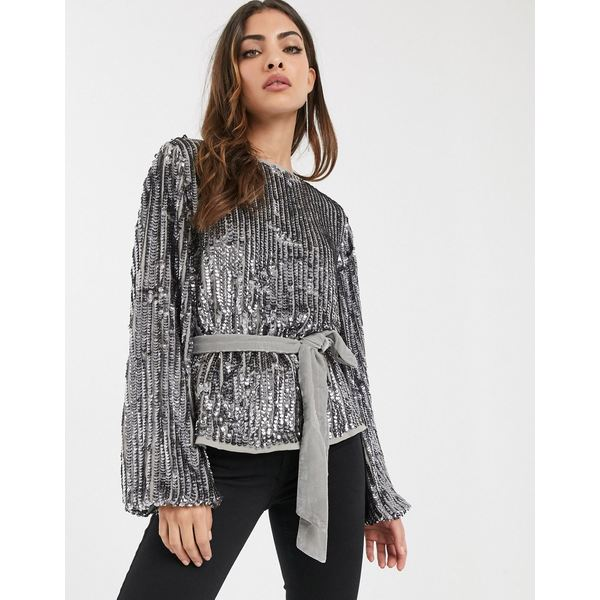 エイソス レディース シャツ トップス ASOS DESIGN batwing sequin top with tie waist Gun metal
