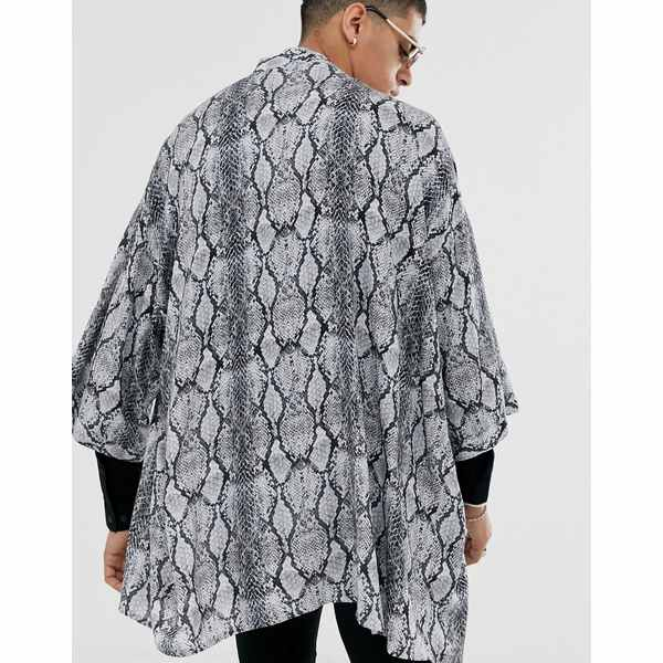 エイソス メンズ シャツ トップス ASOS DESIGN oversized snake shirt in kimono Gray