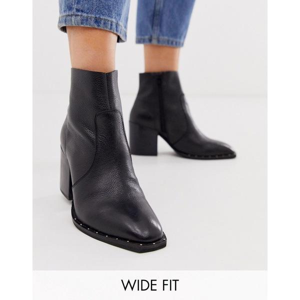 エイソス レディース ブーツ&レインブーツ シューズ ASOS DESIGN Wide Fit Restore leather studded block heel boots in black Black leather