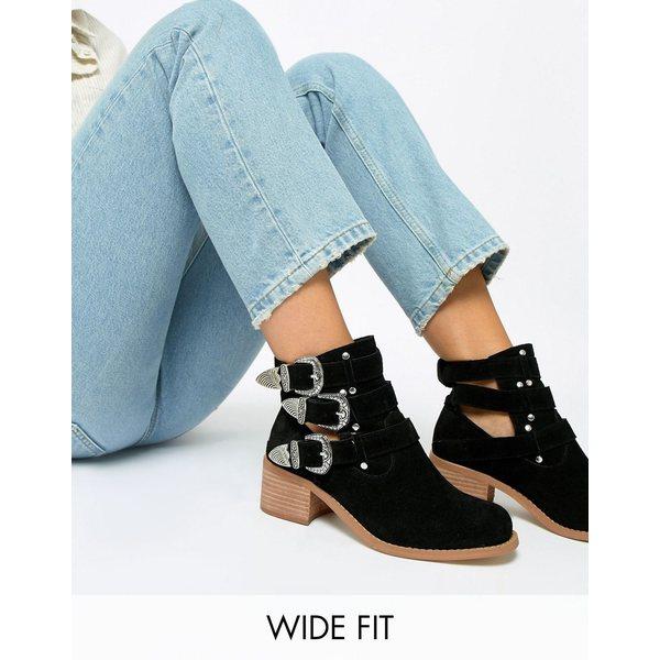 100%本物保証! エイソス レディース ブーツ&レインブーツ シューズ ASOS DESIGN Wide Fit Blair leather cut out ankle boots Black suede, 最上郡 504e37aa
