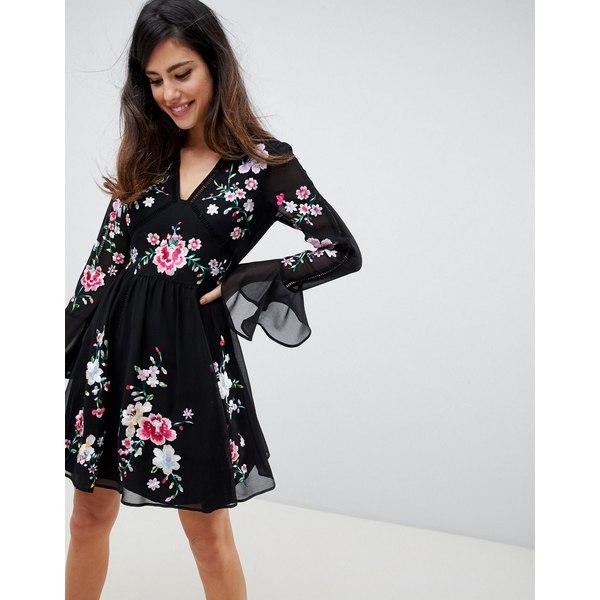 エイソス レディース ワンピース トップス ASOS DESIGN embroidered mini dress with lace trims Black