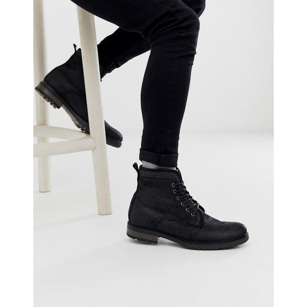 エイソス メンズ ブーツ&レインブーツ シューズ ASOS DESIGN lace up work boots in black leather with faux shearling lining Black