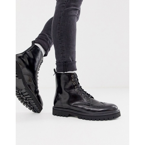 エイソス メンズ ブーツ&レインブーツ シューズ ASOS DESIGN lace up brogue boots in black faux leather on chunky sole Black