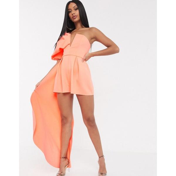 エイソス レディース ワンピース トップス ASOS DESIGN bandeau scuba romper with puff sleeve and drape detail Coral orange
