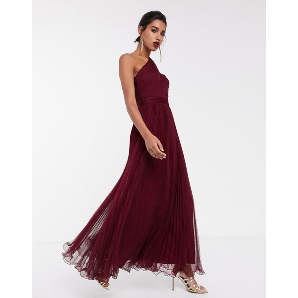 エイソス レディース ワンピース トップス ASOS DESIGN one shoulder tulle wired hem maxi dress Oxblood