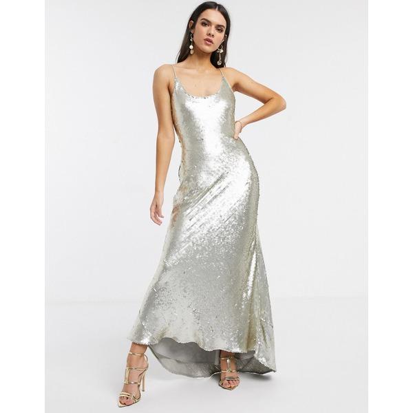 エイソス レディース ワンピース トップス ASOS DESIGN cami embellished maxi dress Silver