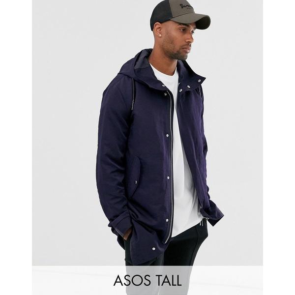 エイソス メンズ ジャケット&ブルゾン アウター ASOS DESIGN Tall parka jacket with detachable vest liner in navy Navy