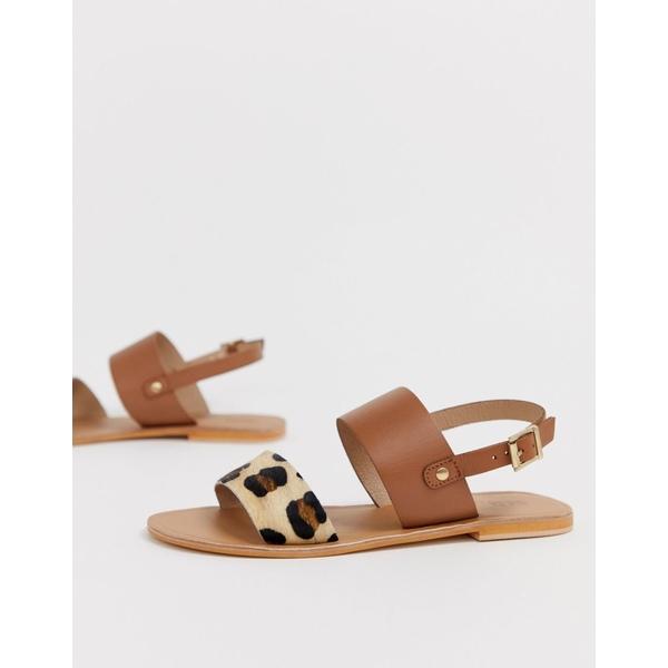 エイソス レディース サンダル シューズ ASOS DESIGN Faye leather flat sandals in leopard Tan/leopard