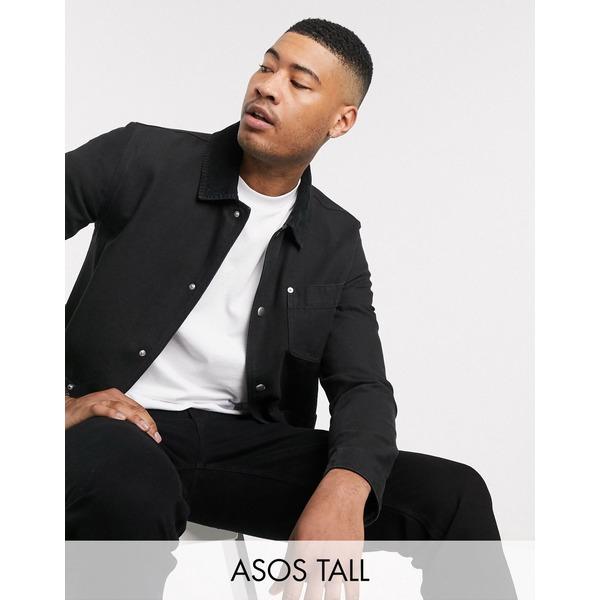 エイソス メンズ ジャケット&ブルゾン アウター ASOS DESIGN Tall denim jacket in black with cord collar Black