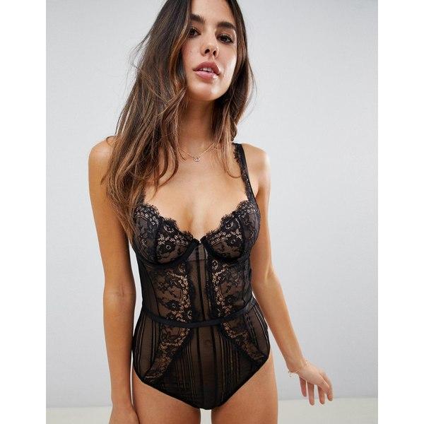 エイソス レディース ワンピース トップス ASOS DESIGN Morgan linear lace underwire bodysuit Black