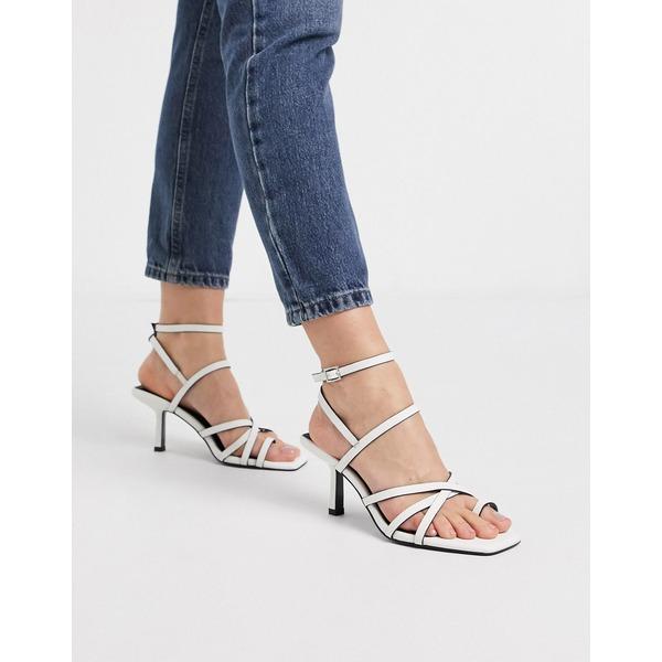 エイソス レディース サンダル シューズ ASOS DESIGN Wide Fit Whittle toe loop mid-heeled sandals in white White