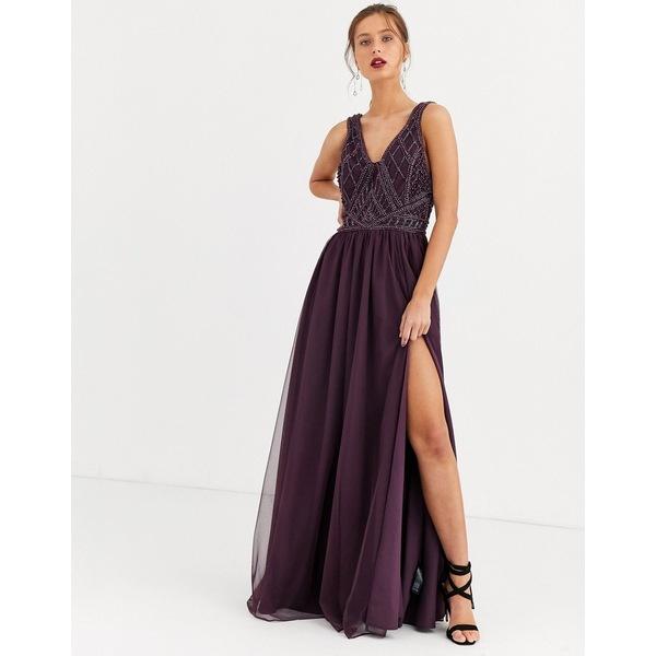 エイソス レディース ワンピース トップス ASOS DESIGN maxi dress with tulle skirt and embellished and pearl bodice Plum