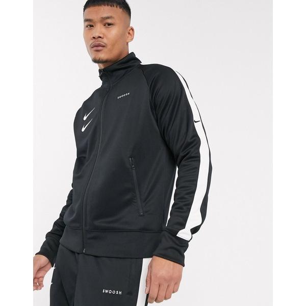 ナイキ メンズ ジャケット&ブルゾン アウター Nike Swoosh polyknit track jacket in black Black
