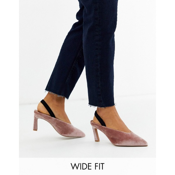 エイソス レディース ヒール シューズ ASOS DESIGN Wide Fit Wishful mid heels in blush velvet Blush velvet
