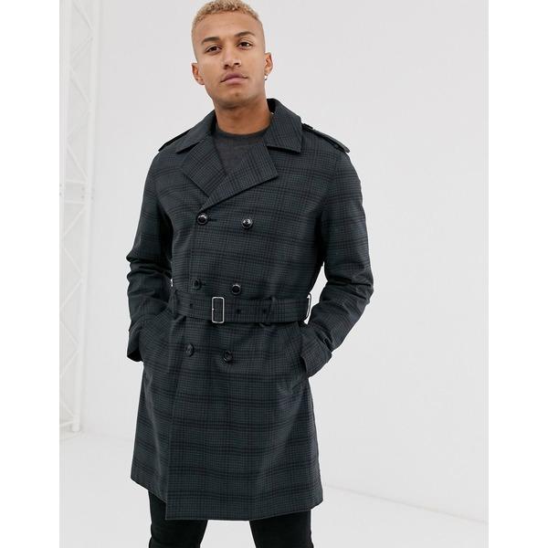 エイソス メンズ コート アウター ASOS DESIGN double breasted trench coat in navy check Navy
