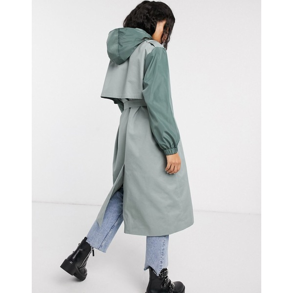 エイソス レディース コート アウター ASOS DESIGN hybrid contrast stitch trench coat in sage SageLGjMVqUzSp