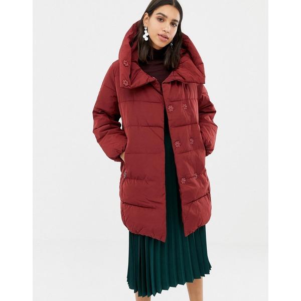ウエアハウス レディース コート アウター Warehouse asymmetric padded coat in red Red