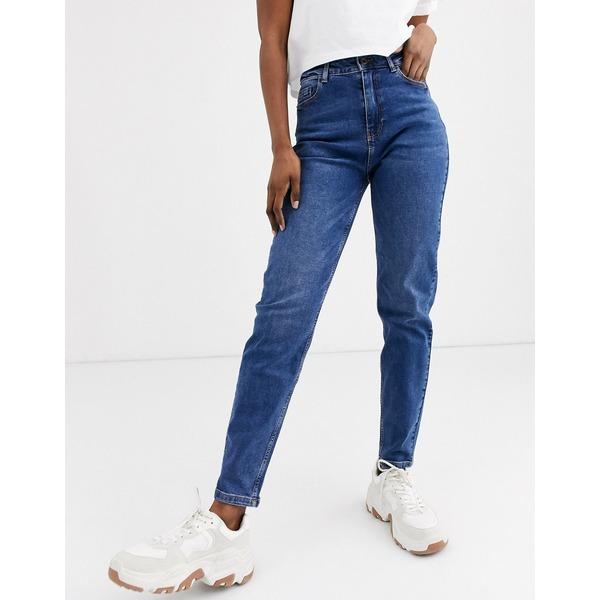 ピーシーズ レディース デニムパンツ ボトムス Pieces high waist mom jean in blue Dark blue denim