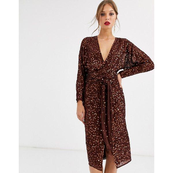 エイソス レディース ワンピース トップス ASOS DESIGN midi dress with batwing sleeve and wrap waist in scatter sequin Chocolate