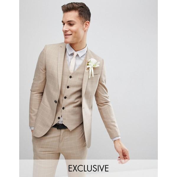 ノーク メンズ ジャケット&ブルゾン アウター Noak skinny wedding suit jacket in windowpane check Beige