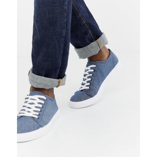 エイソス メンズ スニーカー シューズ ASOS DESIGN sneakers in blue chambray Blue