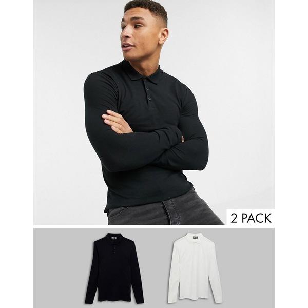 エイソス メンズ ポロシャツ トップス ASOS DESIGN 2 pack organic muscle fit long sleeve pique polo save White/black