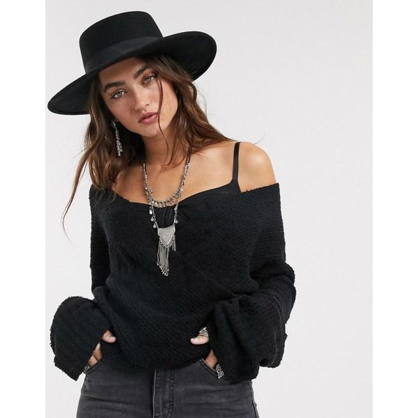フリーピープル レディース ニット&セーター アウター Free People Sensual wrap sweater Black