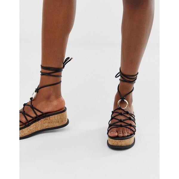エイソス レディース サンダル シューズ ASOS DESIGN Twine spaghetti tie leg flatforms Black