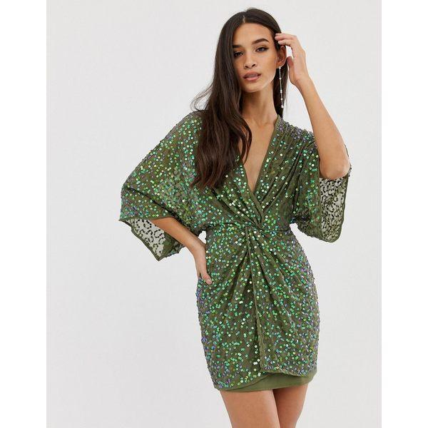 エイソス レディース ワンピース トップス ASOS DESIGN scatter sequin knot front kimono mini dress Khaki