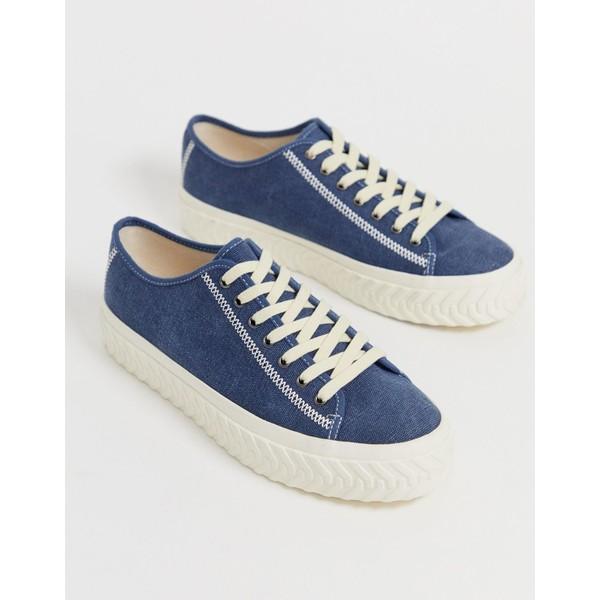 エイソス メンズ スニーカー シューズ ASOS DESIGN sneakers in blue twill with textured sole Blue