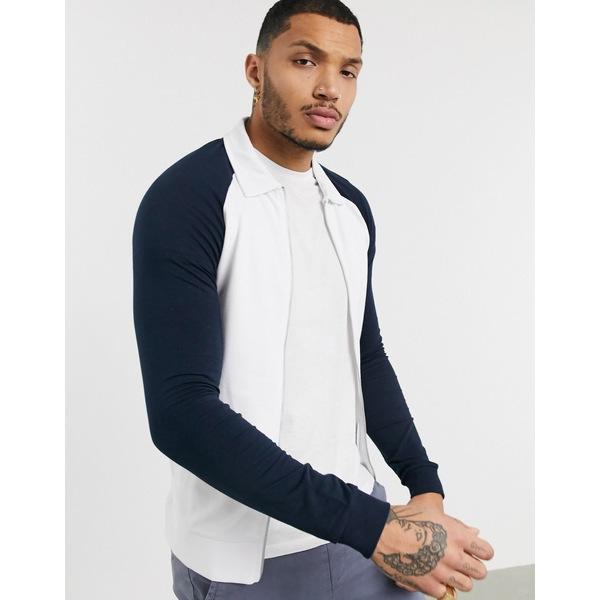 エイソス メンズ ジャケット&ブルゾン アウター ASOS DESIGN muscle jersey harrington jacket in white with black raglan sleeves White
