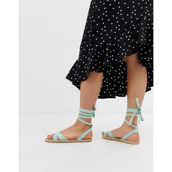 エイソス レディース サンダル シューズ ASOS DESIGN Jala espadrille flat sandals in blue Blue
