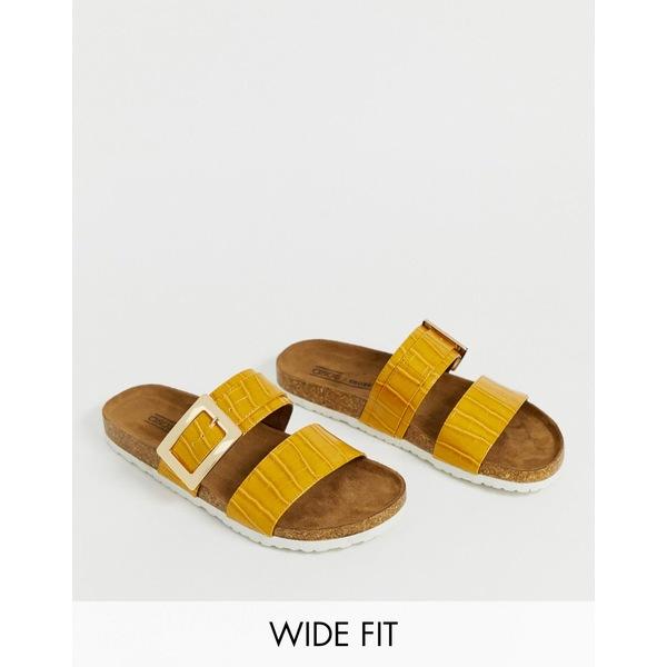 エイソス レディース サンダル シューズ ASOS DESIGN Wide Fit Fool For You sliders in mustard croc Mustard croc