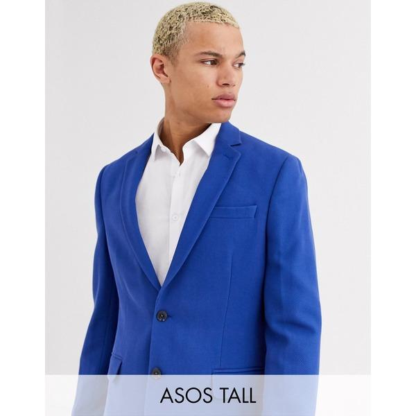 エイソス メンズ ジャケット&ブルゾン アウター ASOS DESIGN Tall skinny waffle blazer in blue Blue