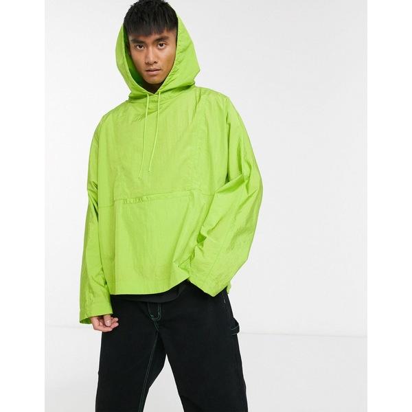 エイソス メンズ ジャケット&ブルゾン アウター ASOS DESIGN oversized hooded windbreaker in green Green