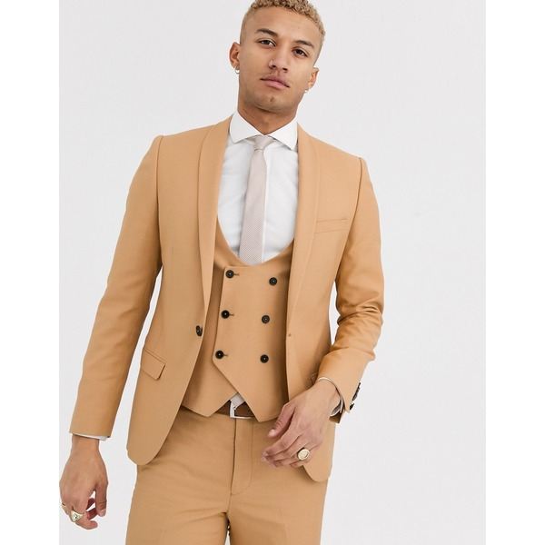 ツイステッドテイラー メンズ ジャケット&ブルゾン アウター Twisted Tailor Hemmingway super skinny suit jacket in camel Camel
