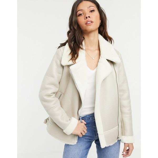 ニュールック レディース コート アウター New Look aviator jacket in cream 13 cream