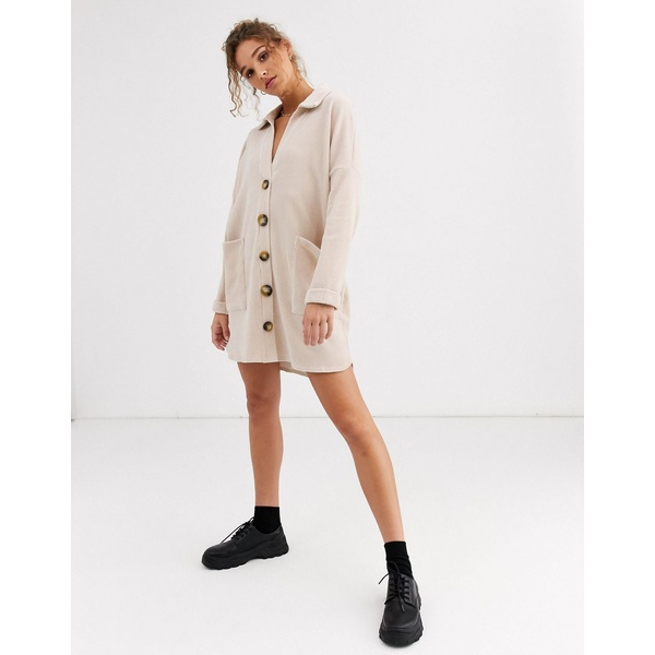 エイソス レディース ワンピース トップス ASOS DESIGN oversized mini cord shirt dress in oatmeal Stone