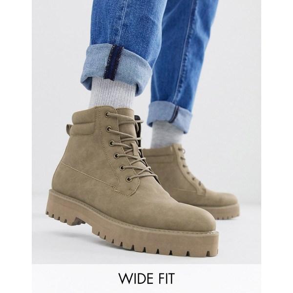 エイソス メンズ ブーツ&レインブーツ シューズ ASOS DESIGN Wide Fit lace up boots in stone faux suede with stone sole Stone