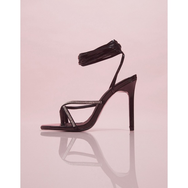 エイソス レディース ヒール シューズ ASOS DESIGN Luxe Navigate embellished barely there heeled sandals in black Black/ rhinestone