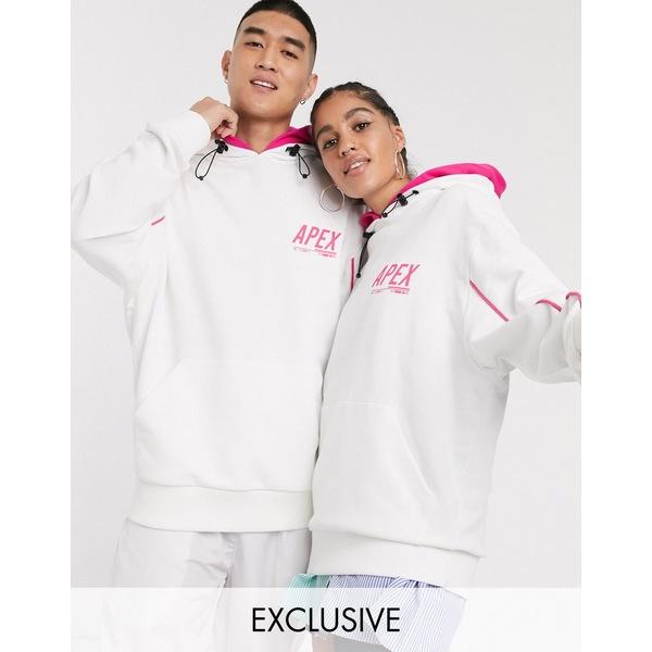 コリュージョン レディース パーカー・スウェットシャツ アウター COLLUSION Unisex hoodie with double hood in white with print White