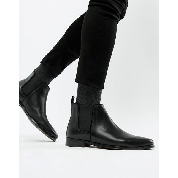 エイソス メンズ ブーツ&レインブーツ シューズ ASOS DESIGN chelsea boots in black leather with black sole Black