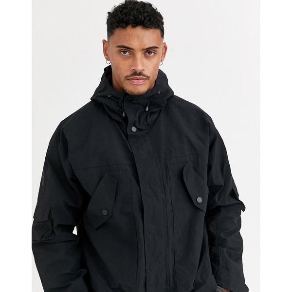 エイソス メンズ ジャケット&ブルゾン アウター ASOS DESIGN windbreaker jacket with utility detail in black Black