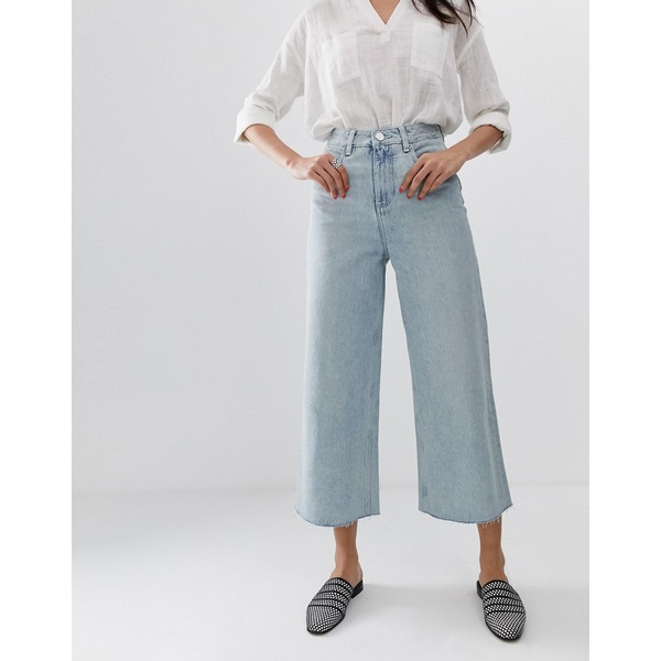 エイソス レディース デニムパンツ ボトムス ASOS DESIGN premium wide leg jeans in light vintage wash blue Light wash blue