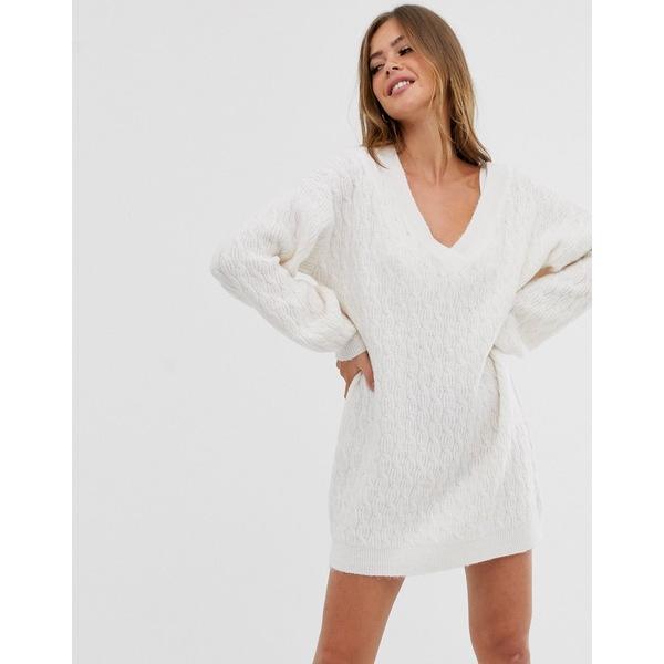 エイソス レディース ワンピース トップス ASOS DESIGN cable mini sweater dress with v neck Cream