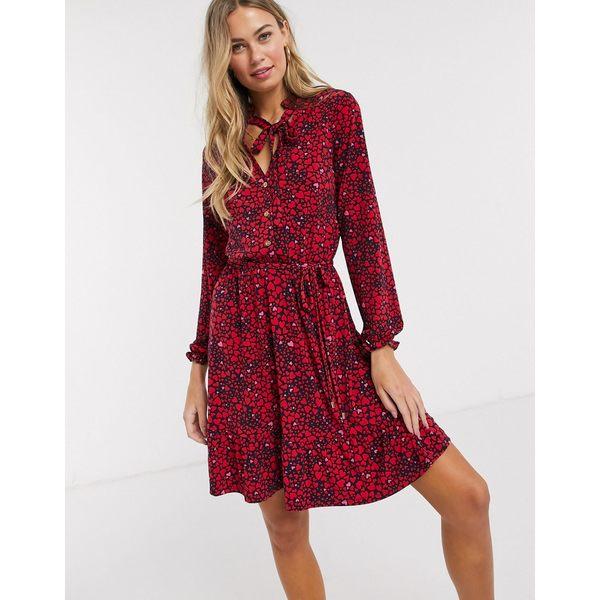 オアシス レディース ワンピース トップス Oasis shirt dress in heart print Multi red