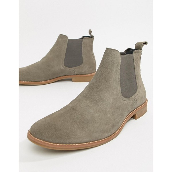 エイソス メンズ ブーツ&レインブーツ シューズ ASOS DESIGN chelsea boots in gray suede with natural sole Gray